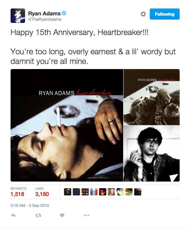 Ryan Adams Tweet