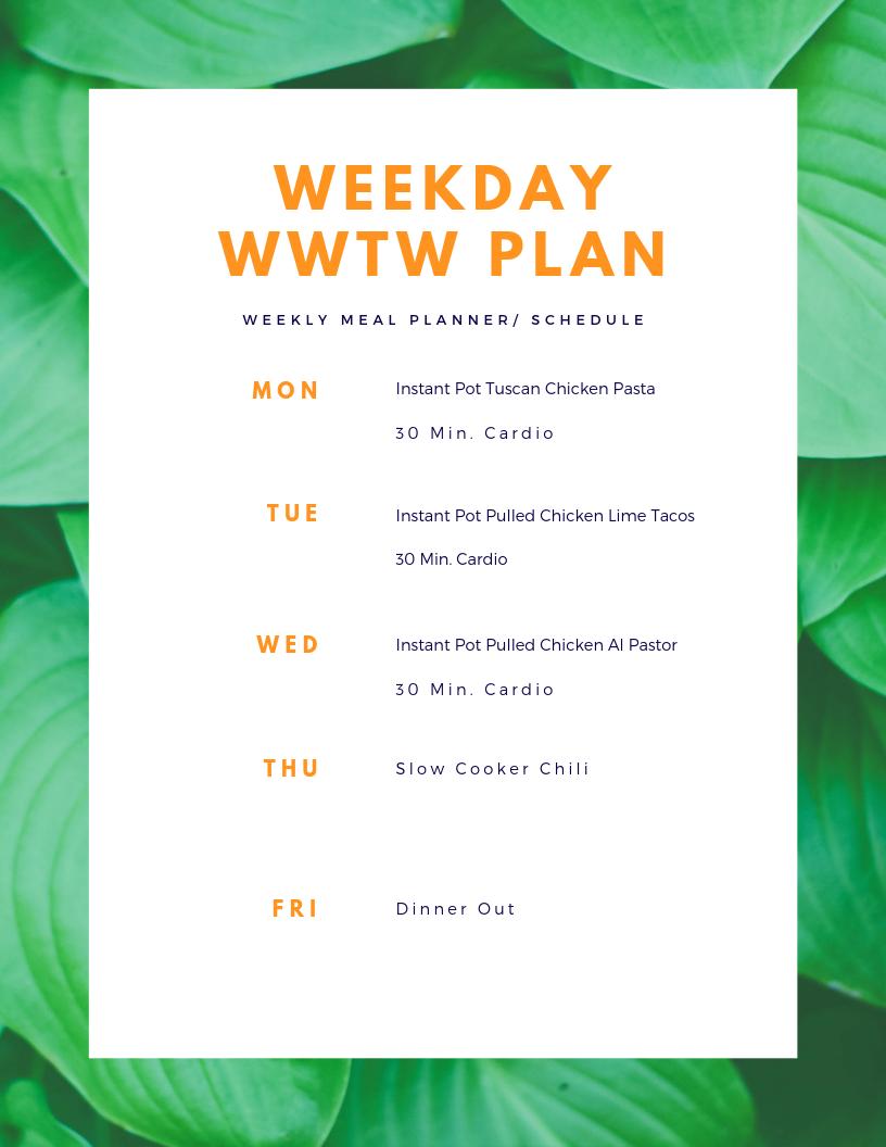 weekday wwtw plan